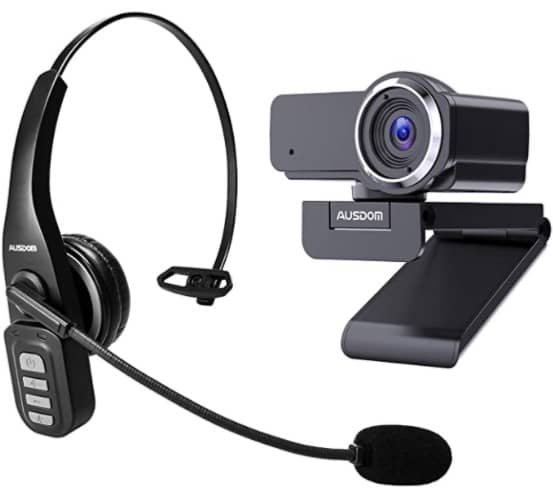 Bundle AUSDOM AW635 Full HD 1080p Webcam with Microphone and AUSDOM BW01 Bluetooth 5.0 Wireless Phone Headset