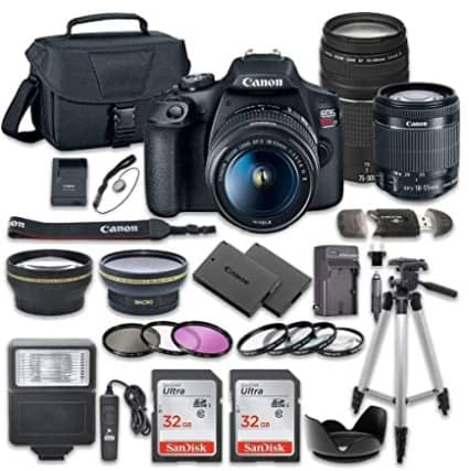Canon EOS Rebel T7 DSLR Camera Bundle with Canon EF-S 18-55mm f3.5-5.6 is II Lens + Canon EF 75-300mm f4-5.6 III Lens + 2pc SanDisk 32GB Memory Cards + Accessory Kit