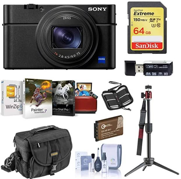 Sony Cyber-Shot DSC-RX100 VII Digital Camera - Bundle with 64GB SDXC U3 Card, Table top Tripod, Camera Case, Spare Battery, Memory Wallet, Cleaning Kit, Card Reader, Mac Software Package