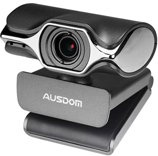 Webcam 1080P Full HD, AUSDOM AW620 Manual Focus Video Camera with Dual Microphone for Skype YouTube Live Streaming, USB Web Cam Plug and Play, Compatible with Mac OS, Android and Windows
